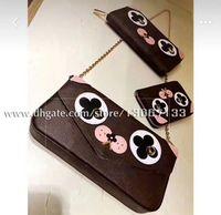 Wholesale leather dog wallet - 2018 Fashion Pochette Clutch 3pcs Dog Woc Clutch 67248 Women Genuine Leather Chain Handbag Small purse wallet