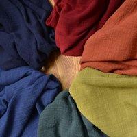 tecido de linho tingido venda por atacado-SOFT Linen Tecido De Algodão para Patchwork Costura Tingido Crepe Slub Camisa de Vestido Do Bebê Tecidos de Pano Tissu Telas Têxtil 50x135 cm