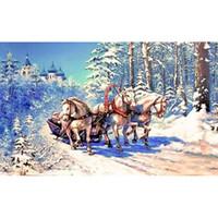 dekorasyon beyaz at toptan satış-Ev Dekorasyon Hediyelik Tam Elmas Mozaik elmas boyama çapraz DIY 5D Yuvarlak elmas White Horse resim Kış kızak dikiş