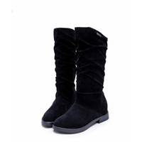 bottes de neige élégantes achat en gros de-2019 Automne Hiver Bottes Femmes Botte Douce Élégant Plat Flock Chaussures Neige Bottes Haute Qualité Chaussures Chaudes Femme botas ug australie mujer