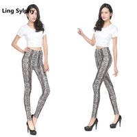 leggings de leopardo azul al por mayor-Ling Sylphy Mejor Vendedor Nuevas Mujeres Leggings Leopardo Serpiente Patrón de Impresión Gris Pantalones Azules Delgados Leggings Elásticos