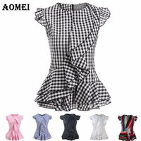 Wholesale ladies ruffle cotton blouses - Summer Plaid Ruffles Peplum Tops for Women Sleeveless Black and White Pink Blue Chechered Blouse Shirts Office Ladies Workwear Clothing