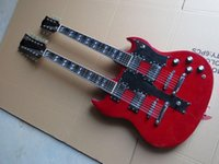 Wholesale led signs guitar - free shipping ! Led Zeppeli Page 1275 Double Neck, Signed Aged , red body 6 string 12 strings guitar