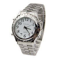 Wholesale glass blinds - High Quality English Talking Clock Stainless Steel For Blind Or Visually Impaired Watch Men Women Digital Number Wristwatch