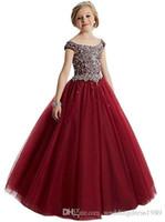 dantel şifon küçük kız elbisesi toptan satış-Çocuklar Çiçek Kız Elbise Boyun Küçük Kız Elbise Dantel Şifon Çocuklar Örgün Düğün Communion elbise Için Giymek