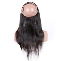 cabelo de fechamento de peruca venda por atacado-Premier Lace Wigs Pré Arrancadas 360 Fechamento de Renda Frontal Não Transformados Cabelo Humano Com Fechamento de Banda de Renda Frontal Natural Natural Em Linha Reta