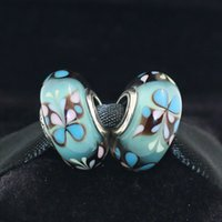 Wholesale Lampwork Glass Heart Loose Beads - DIY Loose Beads Handmade Lampwork 925 Sterling Silver Blue Butterfly Murano Glass Charm Bead Fits European Pandora Jewelry Bracelets