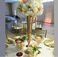 Wholesale tall wholesale wedding vases - 10 elegant Tall sliver New Arrival ! Gold Metal Vase, Gold Flower Vase, Royal Gold Trumpet Vase For Decoration