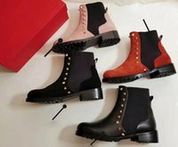 Wholesale Leather Cowboy Bags - AAAAA Womens Rockstud Beatle Ankle Boot Rivet Fashion Boots Suede Leather Size 34-41 with Box dust bag receipts