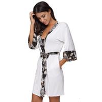 sexy baumwoll-chemise großhandel-2017 Frauen Floral Trim Patchwork Modal Baumwolle Kimono Robe Sexy Dessous Nachthemd Nachtwäsche Chemises Elegante Casual Spa Roben