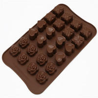 Wholesale Rose Soap Mould - Wholesale- DIY 24 Cups Rose Loving Heart And Gift Box Shape Silicone Chocolate Moulds Jelly Pudding Molds Handmade Soap Molds Baking Tool