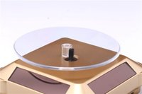 mobile schmuck-displays großhandel-Holiday Light Vitrine Solar 360 Grad rotierenden Ständer Rotary Auto Turn Tischplatte Showcase für Mobile Schmuck