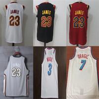 Wholesale black white men - 23 LeBron James Men's Basketball Jerseys 3 Wade 7 Dragic 2018 New Fashion Player version Mens polo shirt White Red Black
