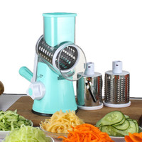 Wholesale hand vegetable shredder - Multi Function Hand Cranked Vegetable Cutter Stainless Steel Drum Cheese Grater Kitchen Cooking Tools Accessory 49ok C R