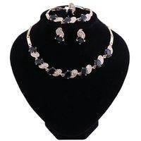 elegantes pulseras de cuentas de cristal al por mayor-Elegante CZ Crystal Beads africanos sistemas de la joyería para las mujeres Dubai Conjuntos de joyas Collar Pulsera Pendientes Anillo Partido Joyería