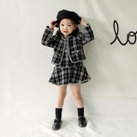 vestidos de xmas venda por atacado-Roupas de bebê Crianças Conjuntos de Roupas Nova Moda Outono Bebê Meninas Grid Coat + Vestido 2 Pcs Set Elegante Xmas Princesa Vestido Set Para Crianças 0-5 T