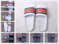 Wholesale breathable slippers women - 2018 The latest trend Black Rubber Slide Sandal Slippers Green Red White Stripe Fashion Design Men Women Classic Ladies Summer Flip Flops