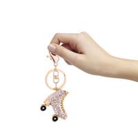 Wholesale shoe holder for rings online - Roller Skates Shoe Keychain Bag Charm Pendant Keys Holder Skates Shoe Keychain Jewelry Key Chain Key Rings for Women Gifts