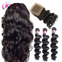 Wholesale human hair weave silk base closure resale online - xblhair weaves human hair with closures loose wave human hair bundles with one by4 silk base closure