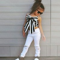Wholesale sleeveless strapless clothing online - MORENNA Fashion Girls Suit stripe Tops pants Pieces The Strapless Set Kids Bowknot Hole white pants girls clothing set
