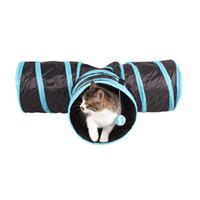 agujero de juguete al por mayor-Venta caliente plegable de 3 agujeros de lona Gatos Túnel juguetes divertidos juguetes Forma plegables del túnel del gato T Juguetes Tienda Nest