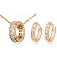 conjunto de aretes collar de circón al por mayor-Collar de mujer del Círculo de la personalidad Pendientes Diseñador de circonio juegos de joyas para mujer / hombre accesorios de joyería casual