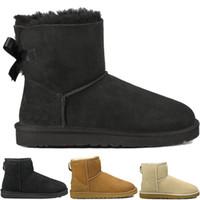 venta de botas de invierno arco al por mayor-UGG Nueva venta de la fábrica Australia botas altas de invierno para el cuero para hombre Bailey Bowknot bailey arco botas de nieve para mujer zapatos bota envío gratis