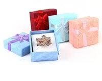 joyeros rosa morado al por mayor-48pcs / pcs caja de regalo de la joyería Caja del anillo de lazo para el tamaño del anillo 4cm (1.6