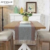 свадебный стол бегуны хлопок полиэстер оптовых-XYZLS Хлопок Полиэстер стол Бегун современный полосатый скатерть с кистями обеденный стол флаг для украшения свадьбы 1шт