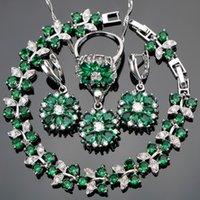 ingrosso pietra verde per la decorazione-Zircone verde da sposa 925 set di gioielli in argento Decorazioni per le donne Bracciali Collana Anelli Orecchini Set con pietre Gift Box