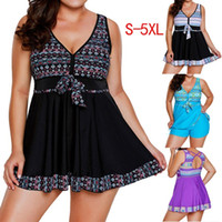 Wholesale two piece swimwear for plus size for sale - Fashion Women Plus Size Swimsuit Floral Print Two Piece Conservative Bathing Suit For Beach Swimwear XL