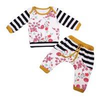 детские теплые костюмы оптовых-Baby Clothing Fashion Baby Girl Clothes Set Floral 2PCS Autumn Warm Clothes Long Sleeve Suit