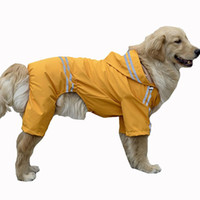 köpek su geçirmez hoodies toptan satış-Büyük Köpek Yağmurluk Giyim Büyük Köpekler Golden Retriever evcil köpek yağmur ceket elbise kapşonlu için su geçirmez Yağmur Ceket Tulum