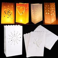 ingrosso sacchetti di tè leggeri-Wedding Heart Tea Light Holder Buon compleanno Lanterna di carta portacandele Home Festa romantica Festival Xmas decorazione forniture WX9-843