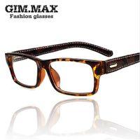 schwarze quadratische brillengläser großhandel-Mincl / Gimmax quadratischen Rahmen Brille Vintage schwarz Leder Brille Rahmen Myopie schlicht Glas Brille