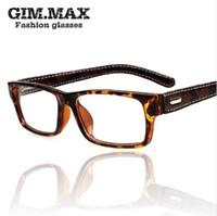 Wholesale myopia glasses male eyeglasses frame online - Mincl Gimmax square frame glasses vintage black leather eyeglasses frame myopia plain glass spectacles