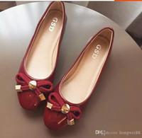 плоская обувь korea новый оптовых-Япония и Южная Корея сладкий бантом нового фонда 2018 осень краска плоский круглый свет головы рот большие ярды женской обуви