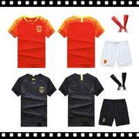 jérsei sets china venda por atacado-Melhor 2018 China Preto Jersey de Futebol Casa longe de Manga Curta Uniformes Conjuntos de Futebol kit vermelho camisa tamanho S-XL