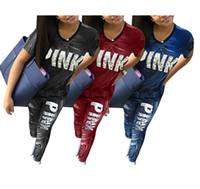 Wholesale Martial Arts Outfit - PINK Women Shorts Suit 2pcs Tracksuits Jogger Outfits Set Pink Letter Short Sleeve Shirt+Long Pants Plus Size Summer Outwear Clothes