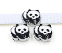 Wholesale collar dog sliders - 10PCs 8MM Enamel Panda Slide Charms Slide Letters Fit 8mm Bracelet Dog pet Collar Belts Wristbands