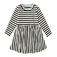 Wholesale Outfits Long Skirts - Autumn Girls Striped Dresses Long Sleeve 95% Cotton Blends Baby Girls Dresses Black White Stripes Skirt Breathable Spring Outfit 2-6T
