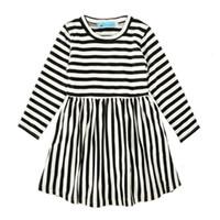 siyah beyaz çizgili etekler toptan satış-Sonbahar Kızlar Çizgili Elbiseler Uzun Kollu% 95% Pamuk Karışımları Bebek Kız Elbiseler Siyah Beyaz Çizgili Etek Nefes Bahar Kıyafet 2-6 T