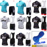 Wholesale Black Cycling Kits - Men cycling Jersey sets 2018 team sky cycling clothing maillot ciclismo Short Sleeves Summer breathable MTB bike shirts+Bib Shorts kit C2406
