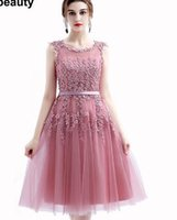 red cascade dress prom NZ - 2017 Robe De Soiree New Wine Red Lace Embroidery Sleeveless A-line Evening Dresses Bride Banquet Elegant Party Formal Prom Dress