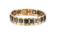 nova tendência braceletes ouro venda por atacado-Pulseira de saúde magnética 2018 nova personalidade Pulseira de aço inoxidável 12m coréia masculina de cerâmica de ouro