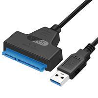 кабели sata ide оптовых-SATA 7+15Pin к USB3.0 ide sata кабель-адаптер 2.5 HDD ноутбук жесткий диск конвертер кабель sata разъем для usb