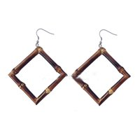 Wholesale rhombus earrings - Popular Boutique Earrings Jewelry Carbonized Bamboo Root Earrings Square Rhombus Black Bamboo Whip Earrings Support FBA Drop Shipping H630F