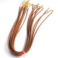 genişletilmiş zincir toptan satış-50pcs / lot süet deri kordon erkek kadın 2mm altın uzatmak zincir ıstakoz toka