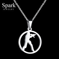 Discount gold neckless - Stainless Steel Games CS Gun Pendant Necklace For Men Anime Neckless Gold Color Chain Necklace Collier Homme