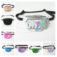 Wholesale Metallic Rainbow - New Fashion Laser Waist Bag Translucent Waterproof Rainbow Hologram PU Metallic Beach Bags Women Crossbody Shoulder Bags Fanny Packs 7 Color